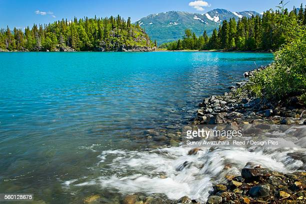Small cascade into Skilak Lake, Kenai National Wildlife Refuge, Southcentral Alaska, Summer.