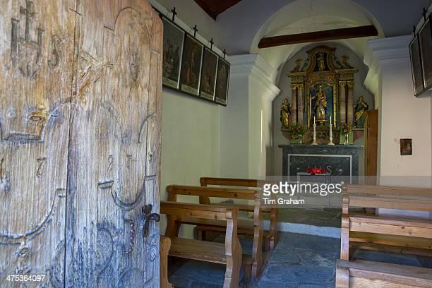 Small chapel in village of Zmutt in the Swiss Alps near Zermatt Switzerland