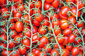 Small cherry tomatoes for sale at a market in Palermo, Sicily