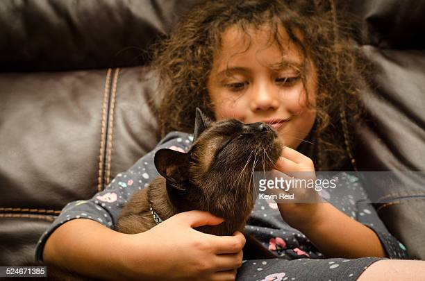 Small child petting her cat