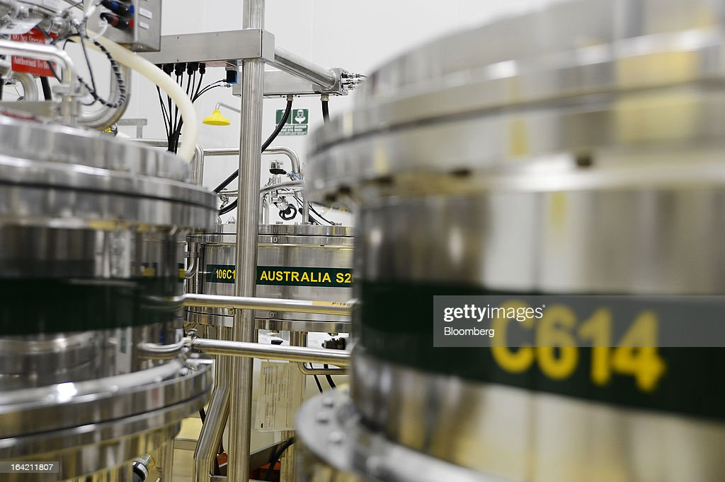 Small chromatography columns stand in the processing section of the CSL Behring plasma processing facility, a unit of CSL Ltd., in Melbourne, Australia, on Wednesday, March 20, 2013. CSL, the world's second-biggest maker of blood-derived therapies, is taking a hard look at its non-plasma businesses as incoming head Paul Perreault tries to assess their growth prospects. Photographer: Carla Gottgens/Bloomberg via Getty Images