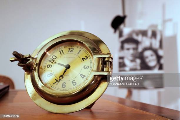 Small clock of French actor Yves Montand designed by Swiss manufacturer JaegerLeCoultre is displayed during the presentation by Digard Auction of the...