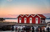 Swedish coastline at sunset. Gothenburg archipelago.