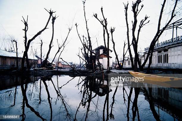 Small community in Dal Lake, Srinagar, Kashmir (India) on winter