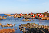 Small cottages in autumn i archipelago