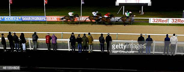 A small crowd watch the action at Wolverhampton racecourse on January 09 2014 in Wolverhampton England