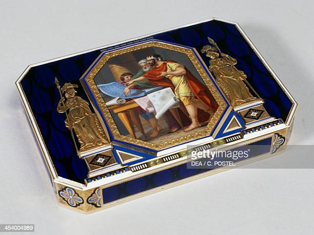 Small Directoire style enamel silver and gold snuff box by the goldsmith JeanGeorges Remond France 19th century