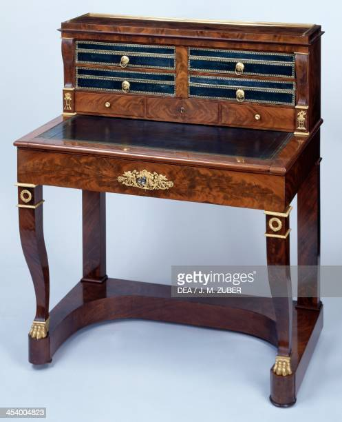 Small Directoire style mahogany writing desk decorated with gilt and chiselled bronze France late 18thearly 19th century