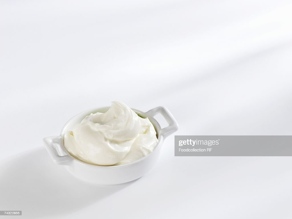 A small dish of fresh cheese