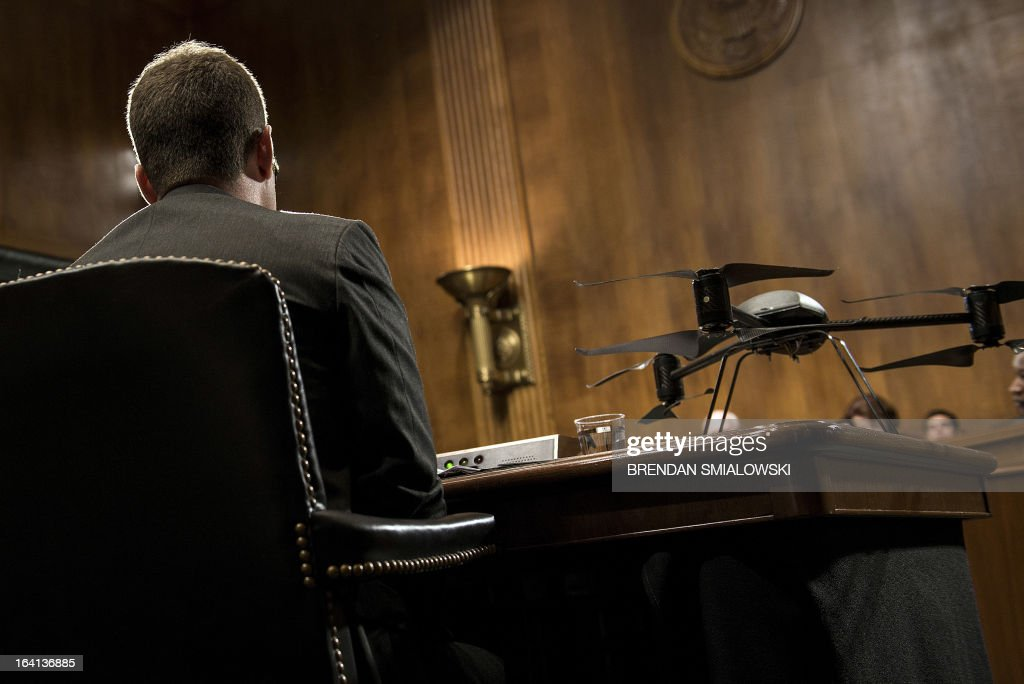 A small drone is seen during a hearing of the US Senate Judiciary Committee on Capitol Hill, March 20, 2013 in Washington, DC. The committee called industry experts to testify about the future use of drones in law enforcement. AFP PHOTO/Brendan SMIALOWSKI