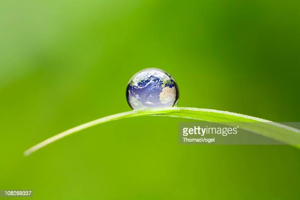 Small Earth. Nature Water Environment Green Drop Globe World