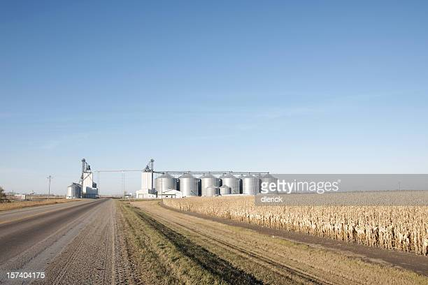 Small Elevator Complex Standing in Field Near Highway