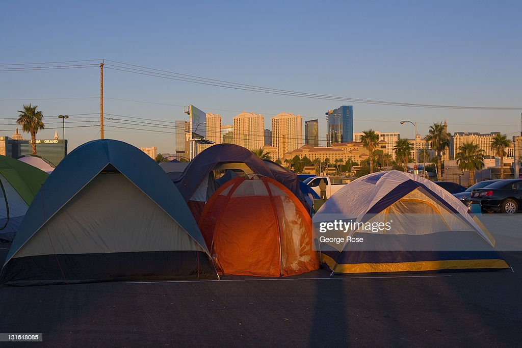 A small encampment of tents is home to a couple dozen participants of the Occupy Las Vegas movement on October 23, 2011 in Las Vegas, Nevada. Located a vacant lot across from the University of Nevada near McCarran International Airport, the turnout by protesters appeared on this day to be low.