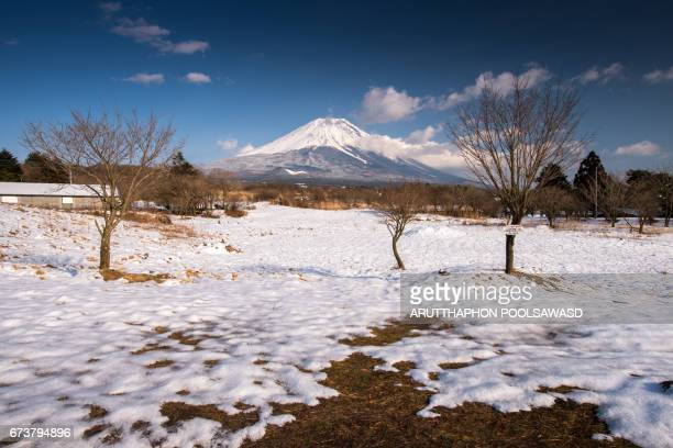 Small farm with Mt.Fuji in the winter time , Yamanashi , Japan