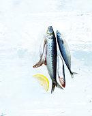 Small Fish on Block of Ice with Lemon Slice