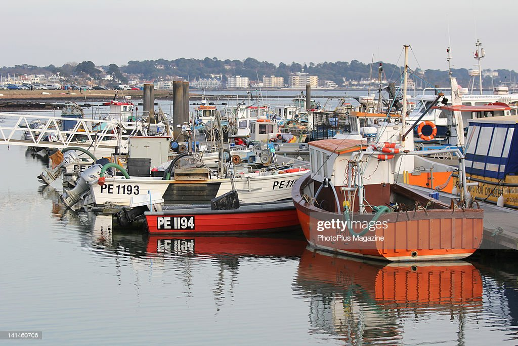 Small fishing boats moored along a jetty in the seaport town of Poole taken on March 1 2010