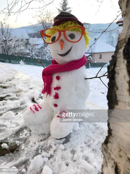 Small funny snowman with glasses