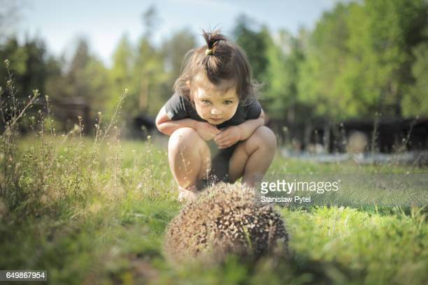 Small girl looking at hedgehog on grass