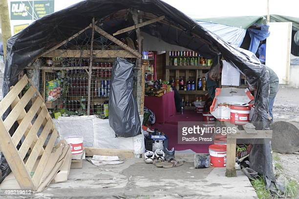 Small grocery shops are available in the new Jungle refugee camp to provide the refugees with food Over 6000 people are living in make shift refugee...