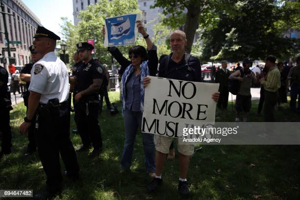 A small group attend an 'antiIslam' rally that organized by 'ACT for America' known with its racist and antiIslamic notions in Foley Square in...