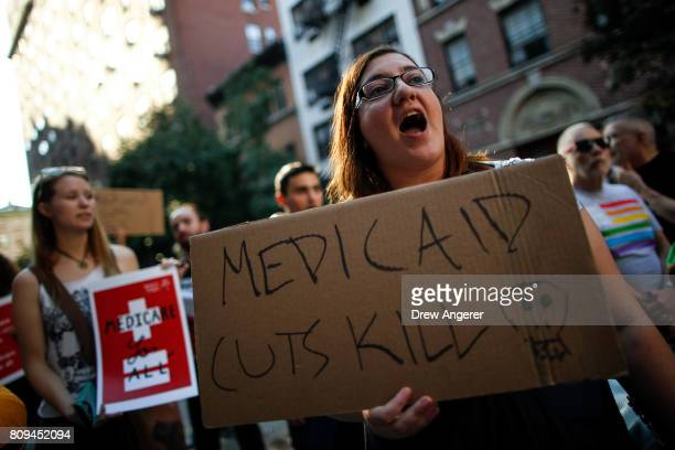 A small group of activists rally against the GOP health care plan outside of the Metropolitan Republican Club July 5 2017 in New York City...