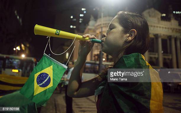 A small group of demonstrators protest in support of the impeachment of President Dilma Rousseff on April 4 2016 in Rio de Janeiro Brazil Brazil's...
