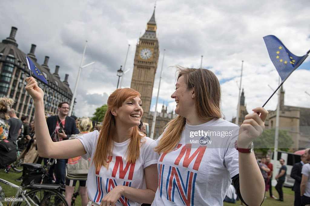 A small group of people gather to protest on Parliament Square the day after the majority of the British public voted to leave the European Union on June 25, 2016 in London, England. The ramifications of the historic referendum yesterday that saw the United Kingdom vote to Leave the European Union are still being fully understood. The Labour leader, Jeremy Corbyn, who is under pressure from within his party to resign has blamed the 'Brexit' vote on 'powerlessness', 'austerity' and peoples fears over the issue of immigration.