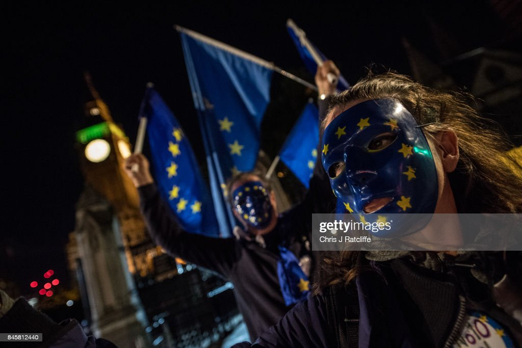 A small group of pro European Union supporters demonstrate outside the Houses of Parliament as Members of Parliament vote on the EU Withdrawal Bill on September 11, 2017 in London, England. The EU Withdrawal Bill, which will end the supremacy of European Union law in the UK, has been debated in the House of Commons. Members of Parliament voted late into the night with a 36 majority for the EU withdrawel bill.