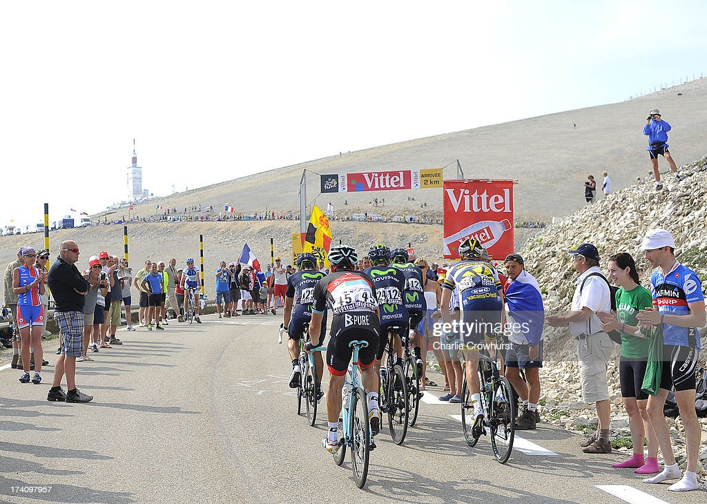 A small group of riders make their way to the top of Mont Ventoux during stage fifteen of the 2013 Tour de France, a 242.5KM road stage from Givors to Mont Ventoux, on July 14, 2013 on Mont Ventoux, France.