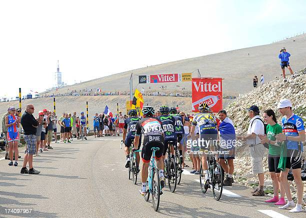 A small group of riders make their way to the top of Mont Ventoux during stage fifteen of the 2013 Tour de France a 2425KM road stage from Givors to...
