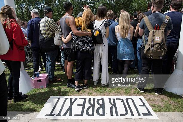 A small group of young people gather to protest on Parliament Square the day after the majority of the British public voted to leave the European...