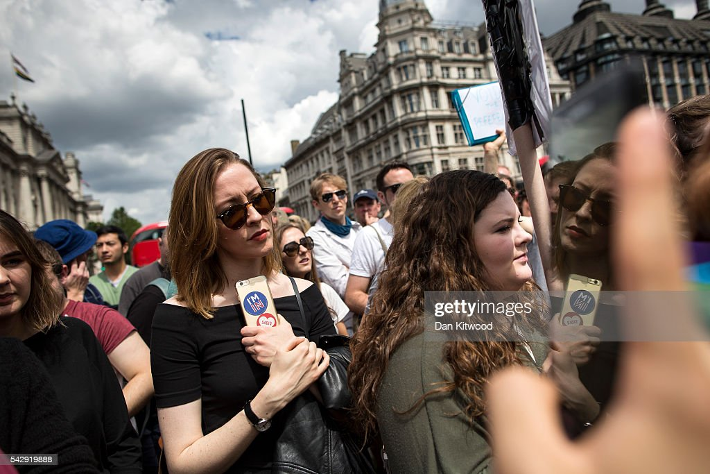 A small group of young people gather to protest on Parliament Square the day after the majority of the British public voted to leave the European Union on June 25, 2016 in London, England. The ramifications of the historic referendum yesterday that saw the United Kingdom vote to Leave the European Union are still being fully understood. The Labour leader, Jeremy Corbyn, who is under pressure from within his party to resign has blamed the 'Brexit' vote on 'powerlessness', 'austerity' and peoples fears over the issue of immigration.
