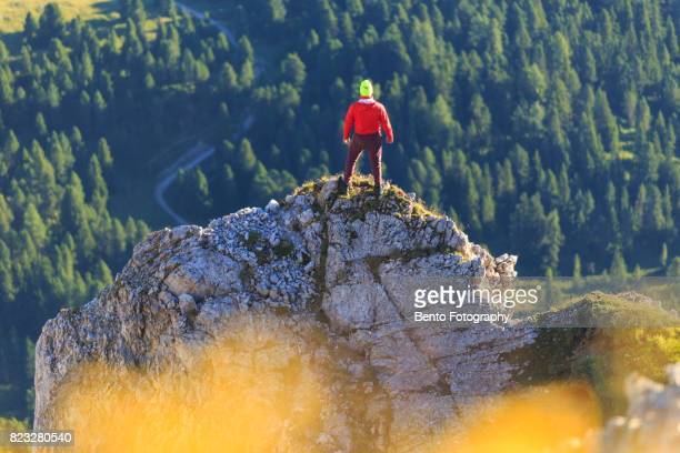 Small hiking man stand in front of forest over Seceda