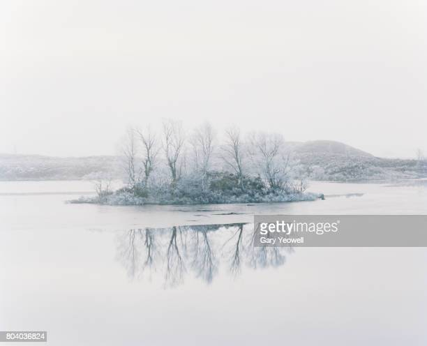 Small island with trees in a frozen Loch in Scotland
