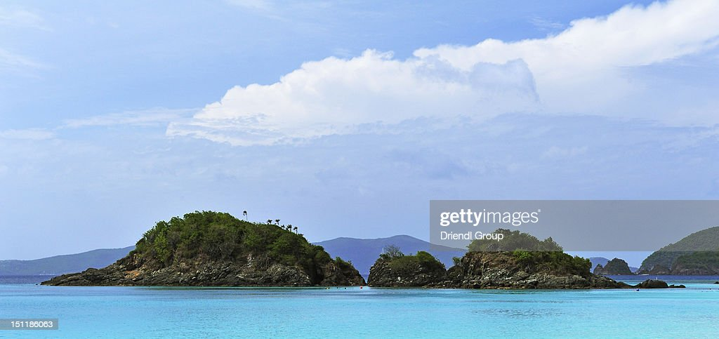 Small Islands in Trunk Bay. : Stock Photo