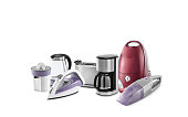 Household equipments on white background