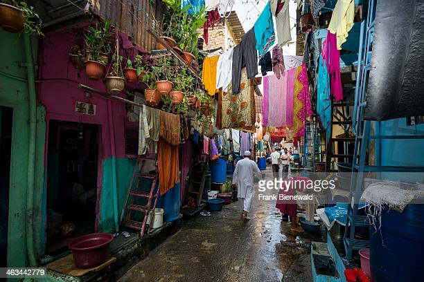 Small lanes and facades of houses at Dharavi Slum the second largest slum area in Asia