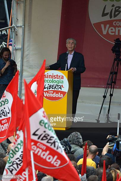 Small 'Left Ecology Freedom' party member Stefano Rodota delivers a speech during a rally on May 11 2013 in Rome AFP PHOTO / VINCENZO PINTO