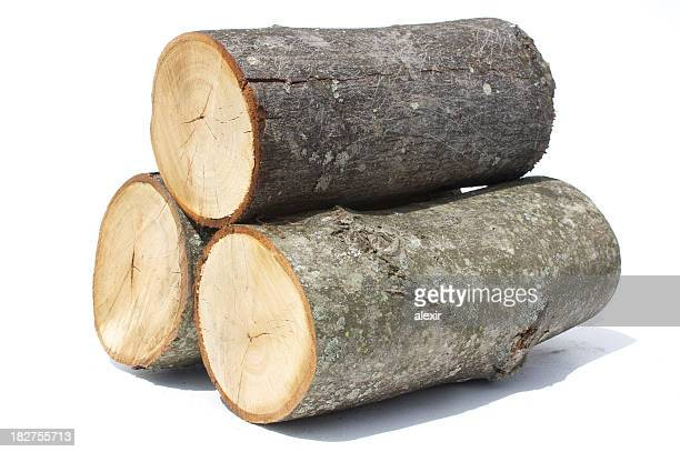 Small Log Stack On White