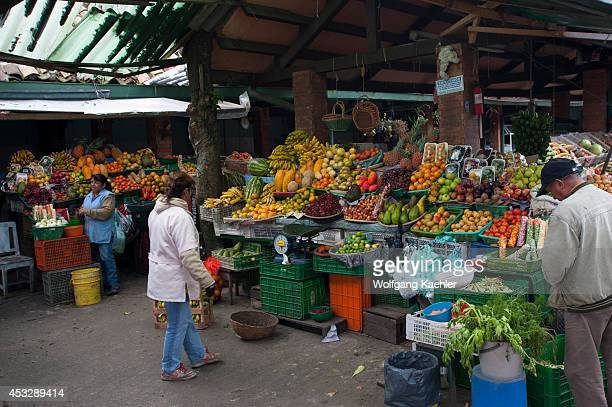 Small market in La Candelaria the old town of Bogota Colombia
