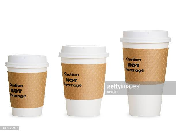 Kleine, mittelgroße und große Kaffee Tassen (Clipping Path