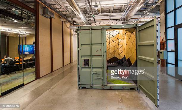 A small meeting room designed in a cargo container inside the secretive Google X research lab in Mountain View CA