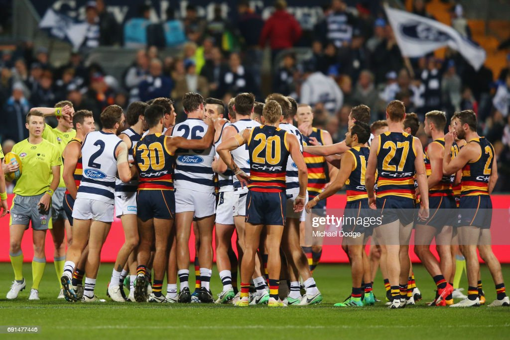 A small melee breaks out at half time during the round 11 AFL match between the Geelong Cats and the Adelaide Crows at Simonds Stadium on June 2, 2017 in Geelong, Australia.