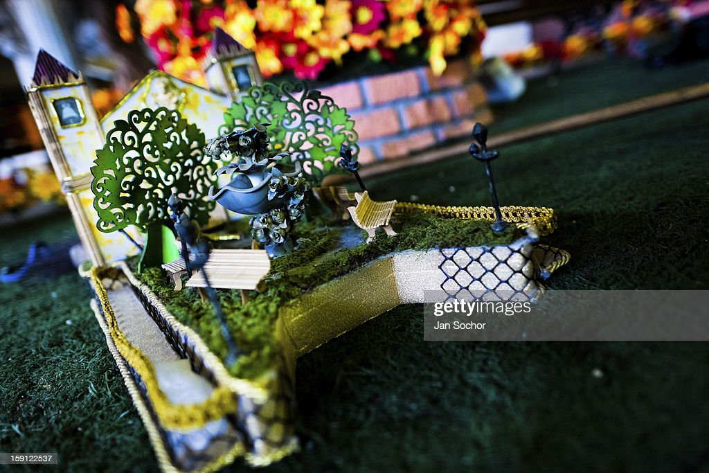 A small model of a carnival float of Acadêmicos da Rocinha samba school seen during the construction process inside the workshop in Rio de Janeiro, Brazil, 14 February 2012. The carnival preparations start early in July or August, some 7-8 months before the main samba schools parade at the sambodrome. Samba schools hire teams of professional designers and artists who, according to the original theme selected by the school directors and then featured by the school during the parade, create allegorical floats, costumes, sculptures, music, choreography and the entire school show. However, the most of the everyday work in the carnival hangars is performed by unknown but fully dedicated samba schools members.