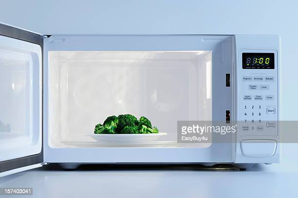 A small plate of broccoli inside a microwave
