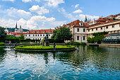 Small pond in the beautiful Wallenstein Garden in  Prague, Czech Republic