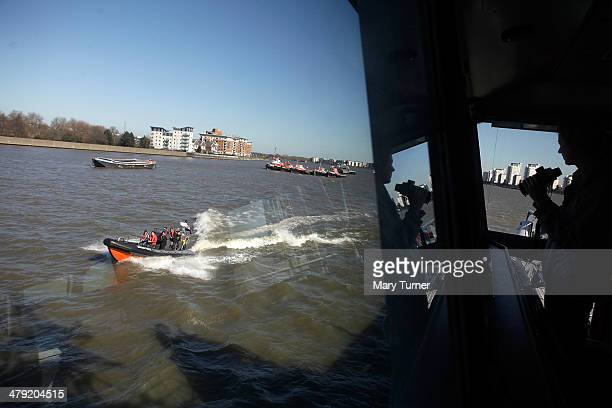 A small RIB belonging to the new Border Force cutter HMC Protector goes on patrol in the River Thames on March 16 2014 in London England The cutter...