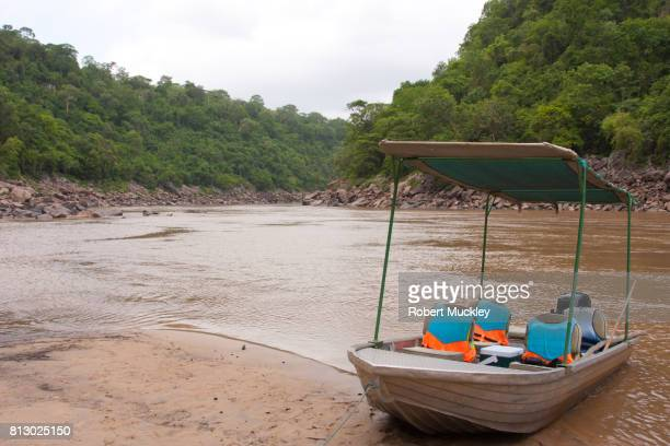 Small river boat moored at Steigler's Gorge