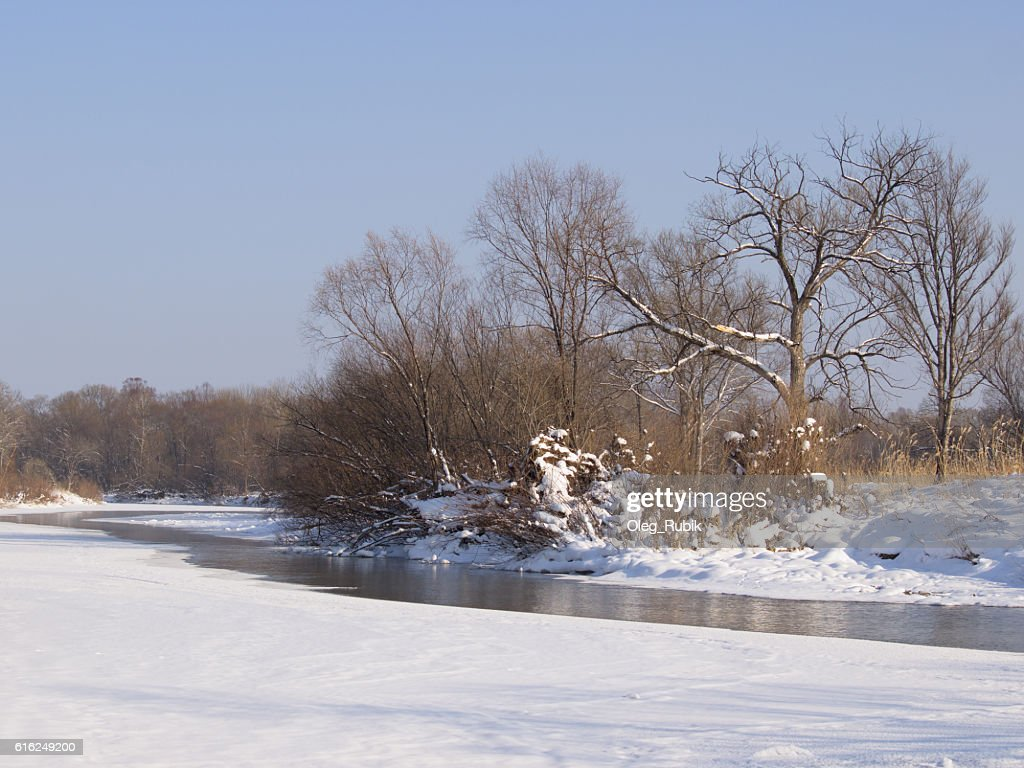 Small river in the winter : Stock Photo