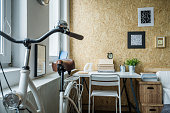 Small room arrangement with place for bicycle